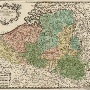 Mapa dels Paisos Baixos austriacs (circa 1725). Font Cartoteca de Catalunya