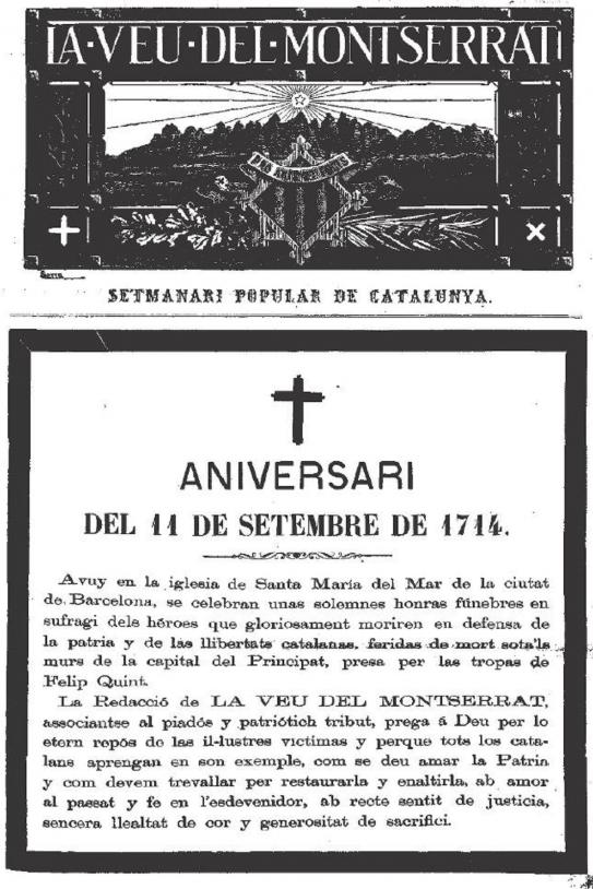 Esquela del héroes de 1714. publicada en La Veu del Montserrat (1880). Fuente Wikimedia Commons