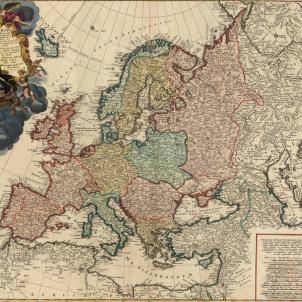 Test 75. L'exili català de 1714. Mapa d'Europa (1743), obra de Hasius. Font Cartoteca de Catalunya
