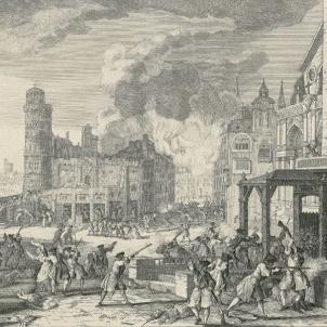 Les autoritats catalanes capitulen la rendició de Barcelona. Gravat dels combats de l'11 i 12 de setembre de 1714, obra de Jacques Rigaud (1750). Font Cartoteca de Catalunya.
