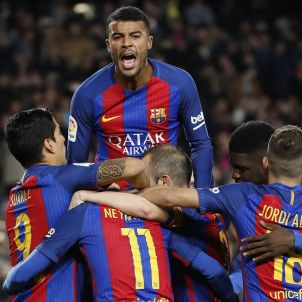 Barça Suárez Rafinha Jordi Alba Neymar Umtiti Iniesta EFE