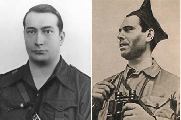 Manuel Hedilla cabeza|cabo|jefe de Falange y José Durruti lider de la FAI. Font Pinterest y Viquipedia