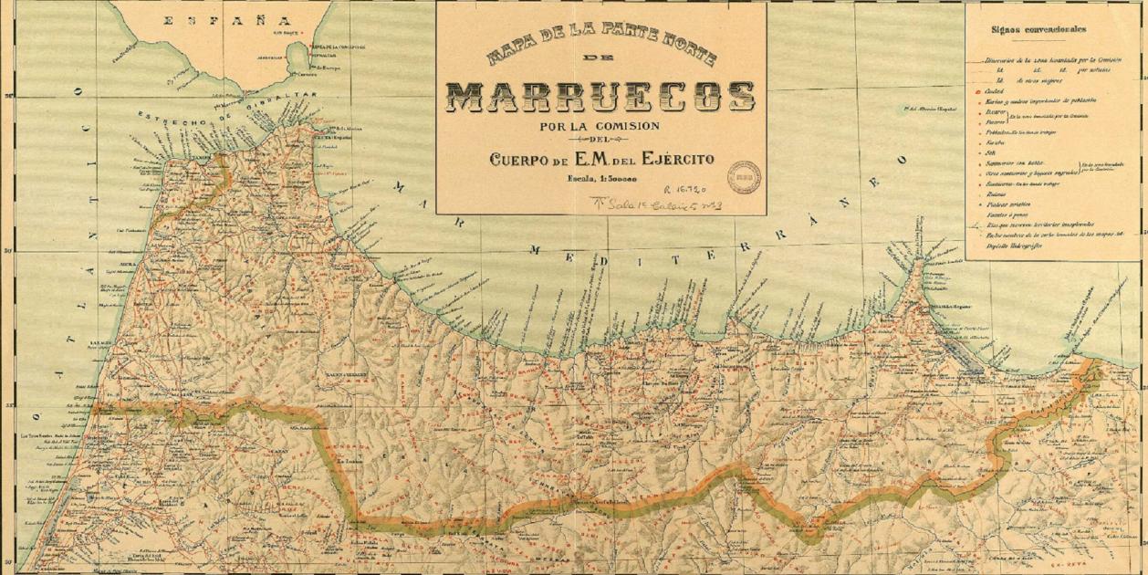 Mapa del Rif (1909). Fuente Instituto Geográfico Nacional