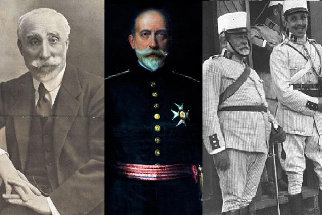 Antonio Maura (presidente del gobierno), Arsenio Linares (ministro de guerra), José Marina (general español en el Rif), y Alfonso XIII. Fuente Wikimedia Commons