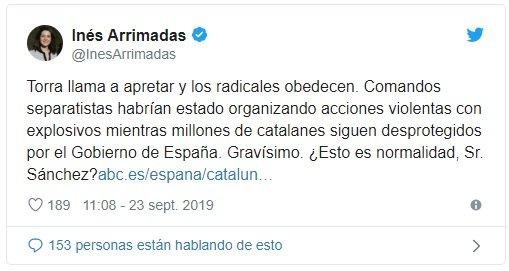 Arrimadas tuit detenciones Sabadell operativo 23 S