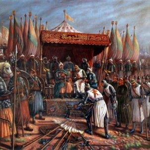 Croades, Saladí fa presoner Guiu de Lusignan wikimedia