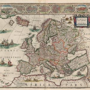 Catalunya declara la guerra a la monarquia hispànica. Mapa d'Europa (1650) obra de Guillem Blaeu (fill). Font Bibliothèque Nationale de France