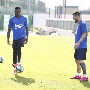 Dembele Messi entrenament Barca FC Barcelona