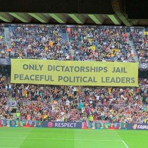 pancarta camp nou barça inter liders elnacional