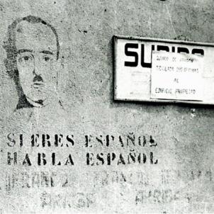 El governador franquista en persona clausura dues escoles catalanes. Grafit del regim franquista. Font Enciclopèdia Catalana
