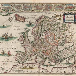 Catalunya i França reforcen l'aliança militar contra la monarquia francesa. Mapa d'Europa (1650). Font Bibliothèque Nationale de France