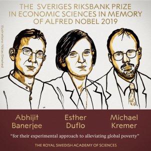EuropaPress 2424679 Los ganadores del Nobel de Economía 2019 Abhijit Banerjee Esther Duflo y Michael Kremer