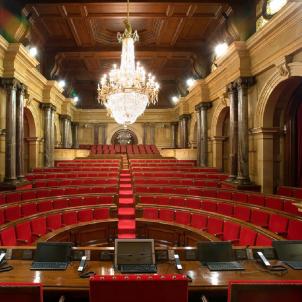 Comencen les obres d'habilitació del Parlament de Catalunya. Fotografia de l'hemicicle del Parlament. Font Parlament de Catalunya