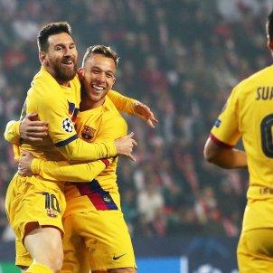 Messi Arthur Luis Suarez Slavia Praga Barca Champions EFE