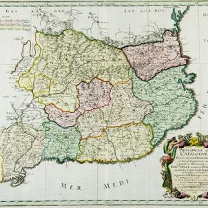 Mapa francès del Principat de Catalunya (amb el Rosselló), mitjan segle XVII