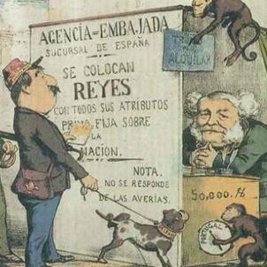 Les Corts espanyoles voten coronar Amadeu I, candidat del general Prim. Caricatura de l'època. Font Arxiu d'El Nacional