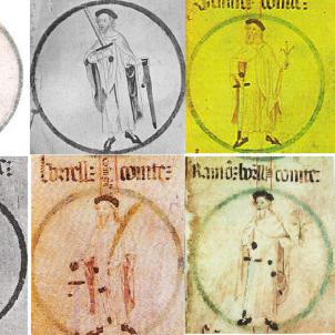 Test 83. Els comtes catalans carolingis. Representació dels sis comtes catalans carolingis. Font Viquipedia