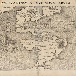 Un terratremol destrueix La Vega, la primera fàbrica colombina d'Amèrica. Mapa del continent americà (1542). Font Cartoteca de Catalunya