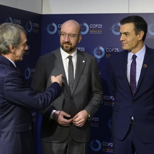 Charles Michel Pedro Sánchez David Sassoli COP25 Cimera Clima Madrid La Moncloa