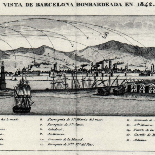 Espartero bombardeja Barcelona. Gravat del bombardeig de Barcelona. Font Wikimedia Commons
