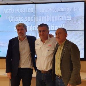 Los secretarios generales de CCOO y UGT Unai Sordo y Pepe Álvarez y el secretario General de CUT Chile Nolberto Díaz