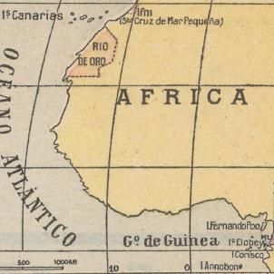 Mapa de situació de les colònies espanyoles a l'Àfrica (1930). Font Cartoteca de Catalunya