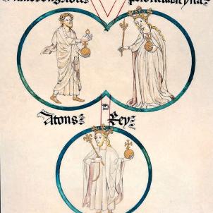 Detall de la Genelogia de la Casa d'Aragó. Ramon Berenguer IV, Peronella i Alfons Ramon. Font Wikimedia Commons