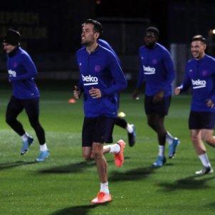 busquets umtiti carles perez  griezmann entrenament@FCB