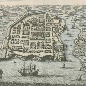 Test 87. Viatgers catalans que han fet història. Gravat de Santo Domingo (segle XVII). Font Cartoteca de Catalunya