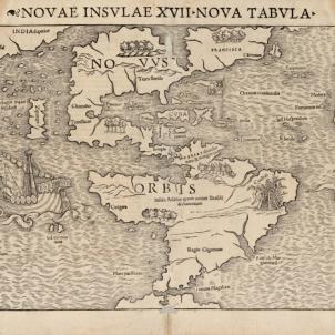 Els catalans de Colom funden la primera ciutat europea d'Amèrica. Mapa del continent americà (1542). Font Cartoteca de Catalunya