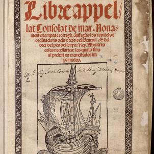Pere II converteix Barcelona en una república. Portada del llibre dels Consolats de Mar. Font Biblioteca Nacional de Catalunya