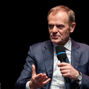EuropaPress 2556917 18 December 2019 Poland Danzig Donald Tusk Former President of the European Council and President of the European People's Party speaks during a promotional event for his new book at thes