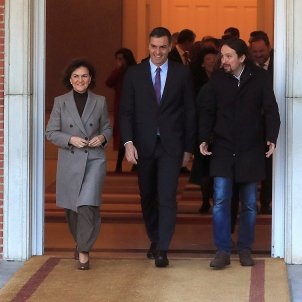 Carmen Calvo pedro Sánchez Pablo Iglesias primera reunió Consell Munistres EFE