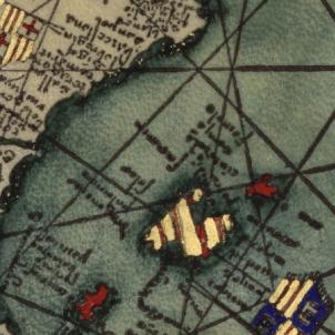 Es completa la conquesta catalana de Menorca. Detall de l'Atles Català d'Abraham Cresques (1375). Font Wikimedia Commons