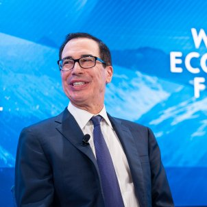 EuropaPress 2603726 HANDOUT   22 January 2020 Switzerland Davos Steven Mnuchin Secretary of the Treasury of the United States speaks during the Future of Financial Markets session at the 50th World Economic