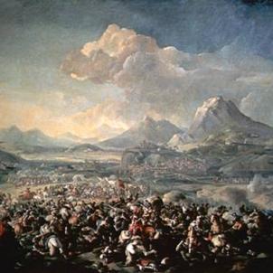 Els catalans derroten els hispanics a la Batalla de Montjuic. Representació de la batalla. Font Viquipedia